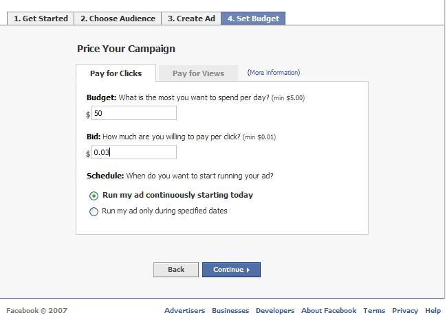Facebook Pricing Screen
